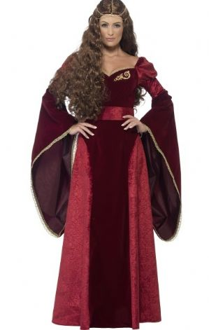 Medieval Queen Plus size Costume - Maroon (27877)